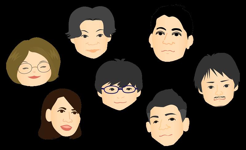 tabeloopメンバーの似顔絵イラスト