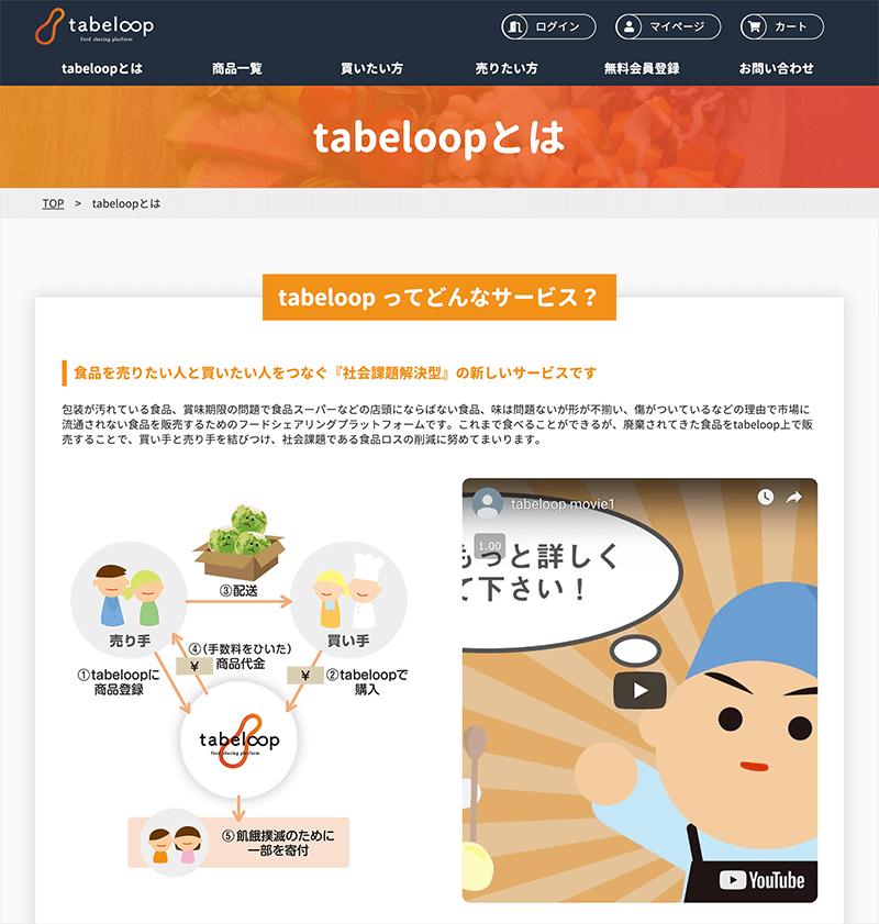 tabeloop概要ページでのイラスト使用画面